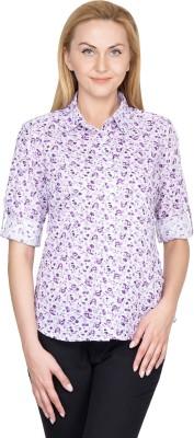 U&F Women's Floral Print Casual Purple Shirt