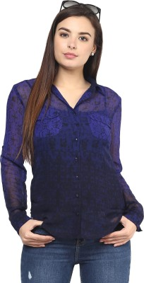 Rockland Life Women's Printed Casual Blue, Purple Shirt