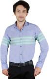 Zrestha Men's Striped Casual Blue Shirt