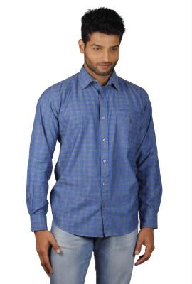 V Seven Men's Printed Casual Blue Shirt