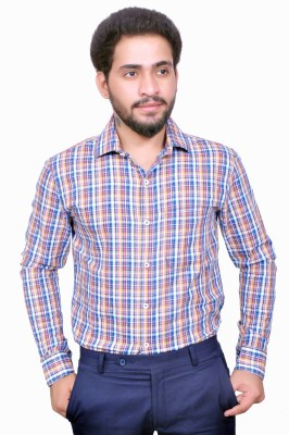 Style In Men's Checkered Casual Yellow Shirt