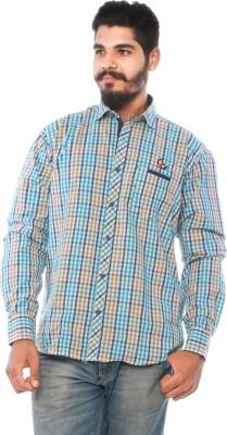 LWW Men's Checkered Casual Light Blue Shirt