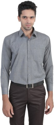 ManQ Men's Solid Formal Grey Shirt
