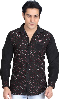 Private Image Men's Printed Casual, Party Black Shirt