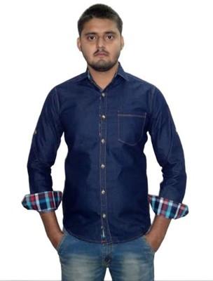 The GreeK Men's Solid Casual Dark Blue Shirt