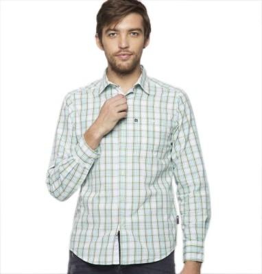 American Swan Men's Checkered Casual Green Shirt