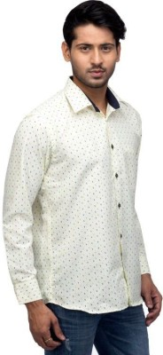 A A Store Men's Printed Casual Yellow Shirt