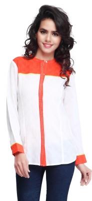 SFDS Women's Self Design Casual White Shirt