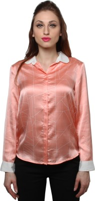 XnY Women's Solid Party Orange Shirt