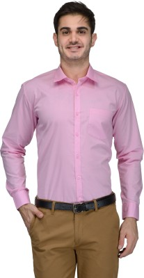 Being Fab Men's Solid Formal Pink Shirt