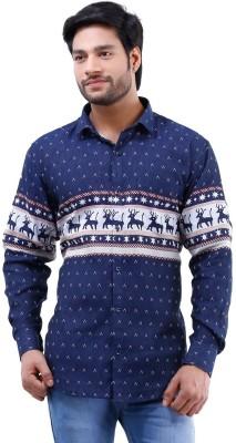 Lamode Men's Printed Casual Blue Shirt