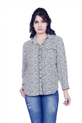 Sequin Crafts Women's Floral Print Casual Blue Shirt