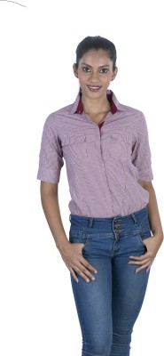 Elle Et Lui Women's Checkered Formal Maroon Shirt