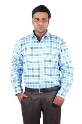 RIPARV Men's Checkered Formal Blue, Yellow Shirt