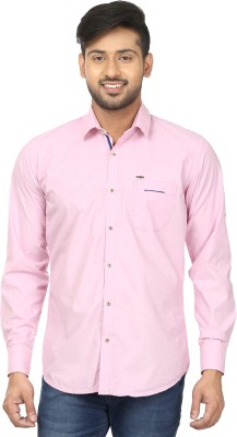 Louis Martin Men's Solid Casual Pink Shirt