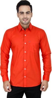 LEAF Men's Solid Formal Orange Shirt
