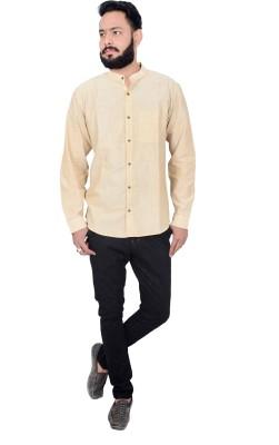 Maandna Men's Solid Casual Beige Shirt