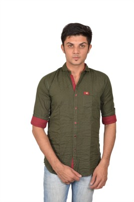Suzee Men's Solid Casual Green, Maroon Shirt