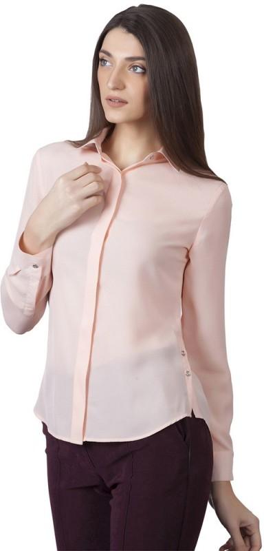 Iralzo Women's Solid Casual Pink Shirt