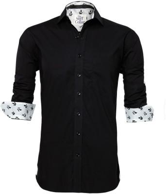 The Stiff Collar Men's Solid Formal Black Shirt