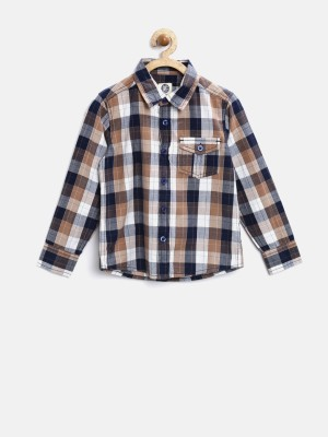 Yk Boy's Checkered Casual Brown Shirt