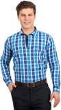 Solemio Men's Checkered Formal Blue Shir...