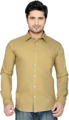Thinc Men's Solid Casual Beige Shirt