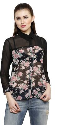 Lee Marc Women's Printed Casual Black Shirt