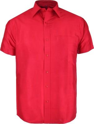Aarya Men's Solid Formal Red Shirt