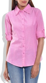 Queenyouapparel Girls Solid Formal Pink Shirt