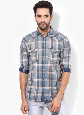 Jack & Jones Men's Checkered Casual Blue Shirt