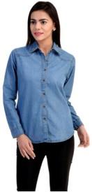 CLOTHVILLA Girl's Solid Casual Denim Blue Shirt