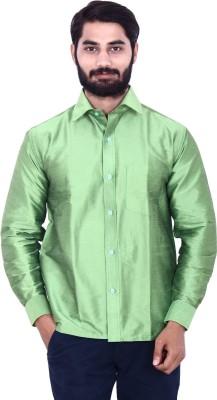 KENRICH Men's Solid Casual Dark Green Shirt
