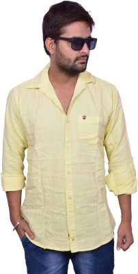 Nation Polo Club Men's Solid Casual Yellow Shirt