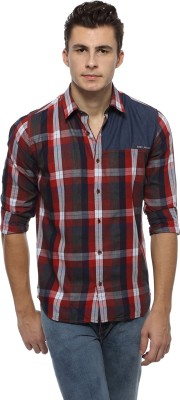 Derby Jeans Community Men's Checkered Casual Red, Dark Blue Shirt