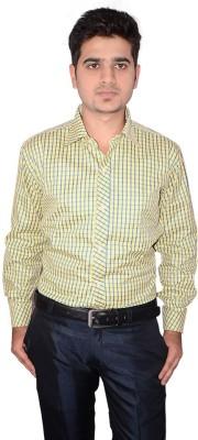 Culture Plus Men's Checkered Formal Yellow, Blue Shirt