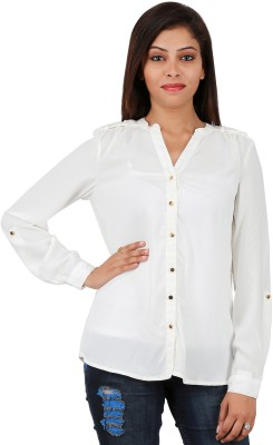 reliable Women,s Solid Party White Shirt