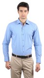 La Polo Men's Solid Formal Blue Shirt