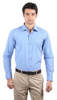 La Polo Men's Solid Formal Blue Shirt