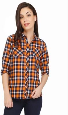 The Cotton Company Women's Checkered Casual Orange Shirt