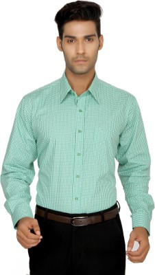 Devaa Mens Checkered Formal Green Shirt