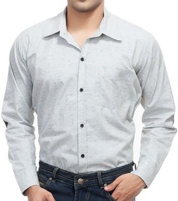 4 Stripes Men's Solid Casual Grey Shirt