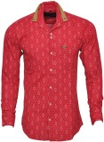 Blue 69 Men's Printed Casual Red Shirt