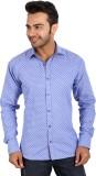 Regza Men's Printed Casual Blue Shirt