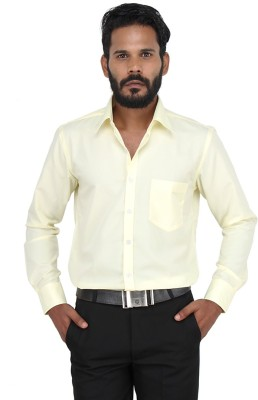 Grhk Men's Solid Casual Yellow Shirt