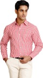Zenrio Men's Checkered Formal Red Shirt