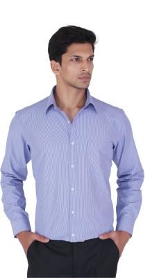 Cocablue Men's Striped Formal Blue Shirt