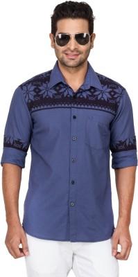 Laven Men's Self Design Casual Blue Shirt