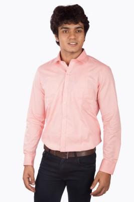 A Flash Men's Solid Formal Pink Shirt