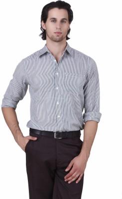 Mind The Gap Men's Striped Formal Black Shirt